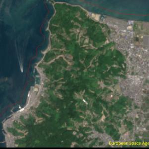 松山市高浜付近Sentinel-2画像[撮影:7月13日/カラー:RGBコンポジット]