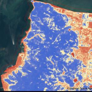松山市高浜付近Sentinel-2画像[撮影:7月13日/カラー:NDVI(赤→青)] 崩落と思われる箇所が黄色で抽出されている