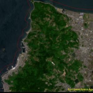 松山市高浜付近Sentinel-2画像[撮影:6月13日/カラー:RGBコンポジット]