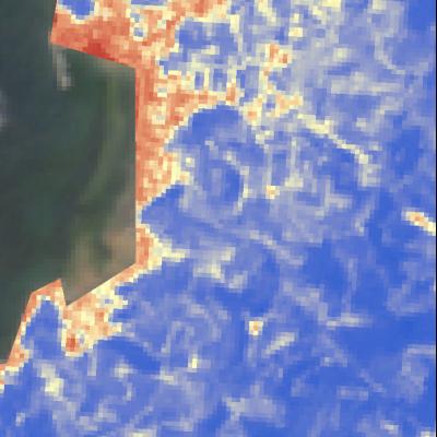 宇和島市吉田町Sentinel-2画像[撮影:6月13日/カラー:NDVI(赤→青)] 住宅のある範囲は赤、みかん畑や山間の植生は青色になっている