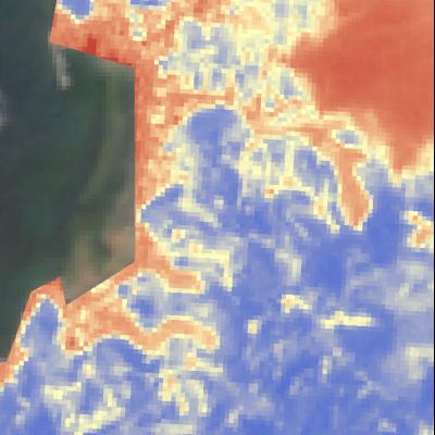 宇和島市吉田町Sentinel-2画像[撮影:7月13日/カラー:NDVI(赤→青)] 植生があった青色の箇所が赤色になっている