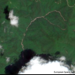 宇和町下川の滝山川上流Sentinel-2画像[撮影:7月13日/カラー:RGBコンポジット]