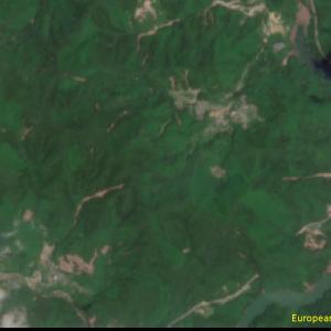 野村町野村ダム付近Sentinel-2画像[撮影:7月13日/カラー:RGBコンポジット]