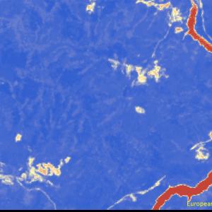 野村町野村ダム付近Sentinel-2画像[撮影:6月13日/カラー:NDVI(赤→青)]