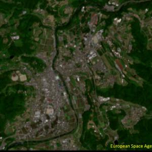 野村町野村付近Sentinel-2画像[撮影:6月13日/カラー:RGBコンポジット]